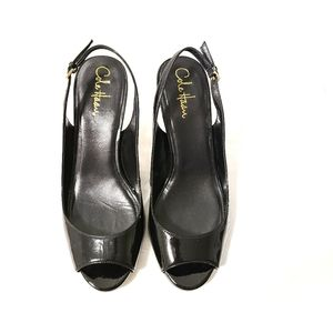 Cole Haan Nike Air Open Toe Black Pumps 8B